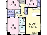 那覇市銘苅にある広々リビングの3LDK空きます!6月中旬入居予定!浴室乾燥で雨の日も便利♪モノレール古島駅まで徒歩約11分!エアコン2台ついてます!! 2階 間取り図